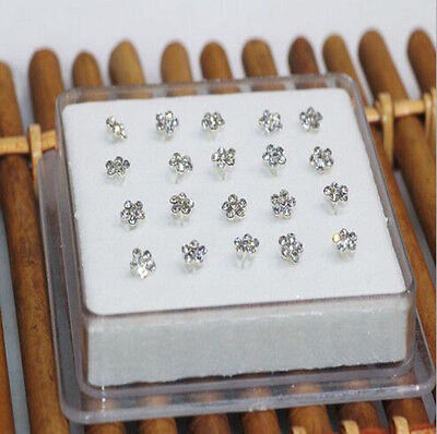 Wholesale 20PC Solid Silver Mixed Plum flower Crystal Straight Bar Rod Nose Stud