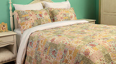 PATCHWORK BEDSPREAD QUILT COMFORTER COTTON BED THROW FLORAL COUNTRY COTTAGE