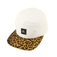Leopard Animal Print 5 Panel Snapback Biker Cycle Cadet Cap Hat Adjustable White