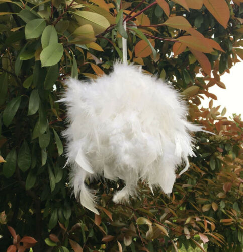 7.2 Inches Feather PomPoms Kissing Ball Decorate Ball Chandelle Ball White 10 Pc