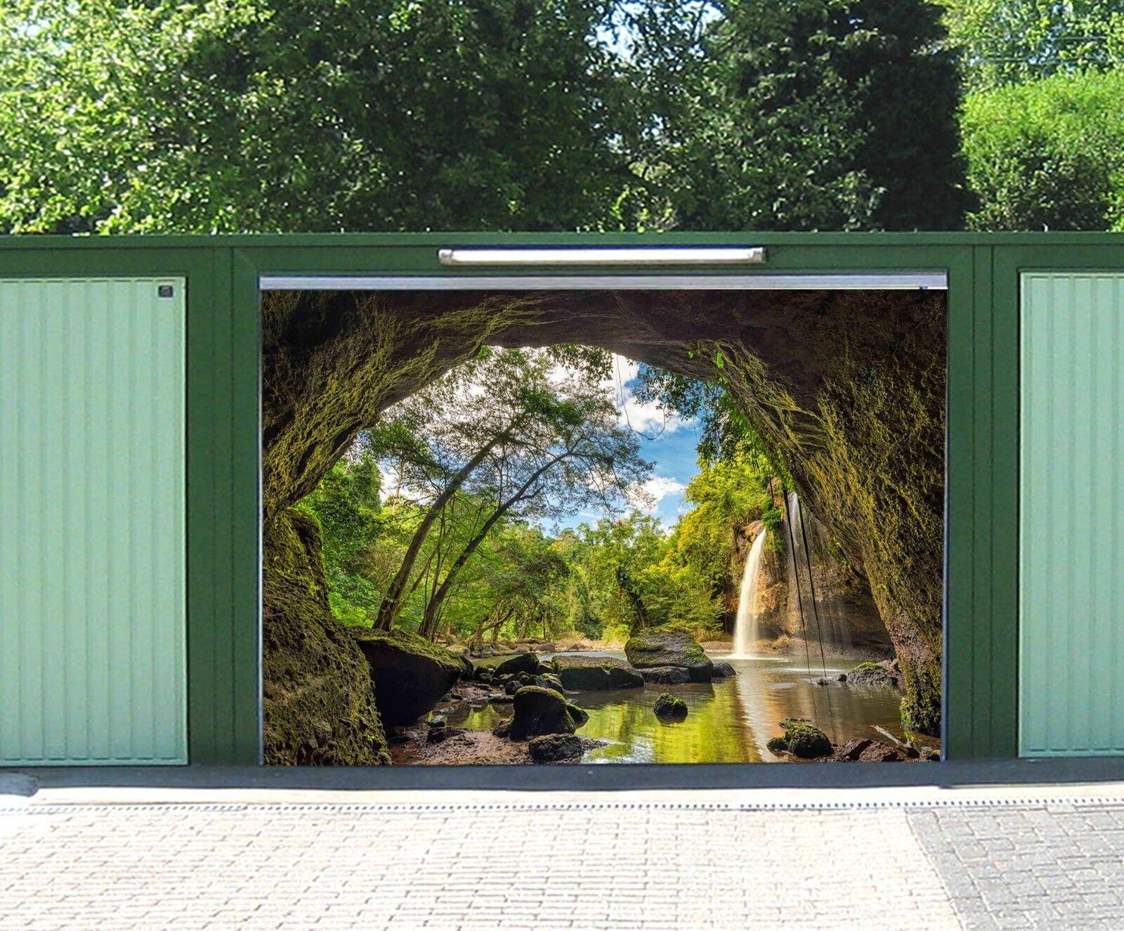 3D Stones Jungle Lake 4 Garage Door Murals Wall Print Wall AJ WALLPAPER UK Lemon