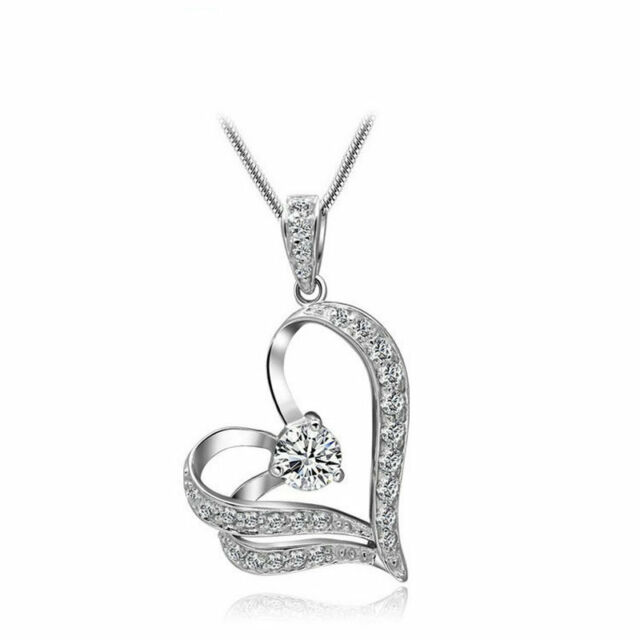 Women Crystal Rhinestone Love Heart Pendant Necklace Silver Plated Chain Jewelry