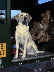 Nigel-Hemming-YELLOW-CAB-Labrador-Lab-Land-Rover-Gun-Dog-Shooting-Gun-Dog-Art