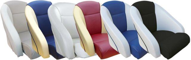 Boat Seat Steuerstuhl Steuersitz Angelbootssitz Kunstleder Bootssitz weiß//blau