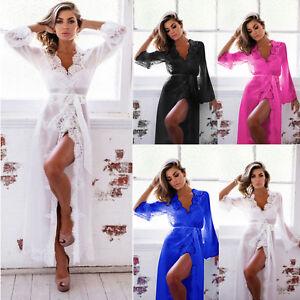 new concept 51df0 7940e Details zu Damen Spitze Kimono Dessous Nachthemd Lang Nachtwäsche Hochzeit  Negligee Kleider