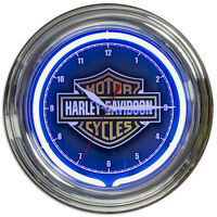 Harley-davidson Neon Clock Blue Bar And Shield Motorcycle Garage Decor 12 X 12