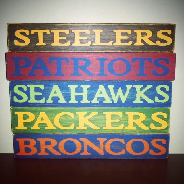 NFL Football Team Name Wooden Signs - Homemade - Great for your Man Cave!