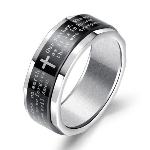 8 mm Argent /& Noir Cross Spinner Band homme en acier inoxydable bijoux ring sz 7-11