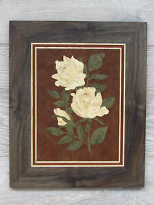 Wood Wall Art Roses Picture White Roses Wood Mosaic Marquetry Wood