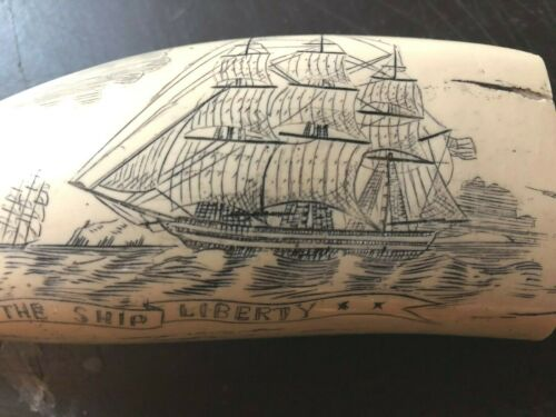 "/""SHIP LIBERTY/"" fine details  historic Sperm whale tooth scrimshaw replica"