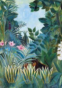 H-Rousseau-The-Equatorial-Jungle-A4-size-Canvas-Art-Print-Poster-Unframed