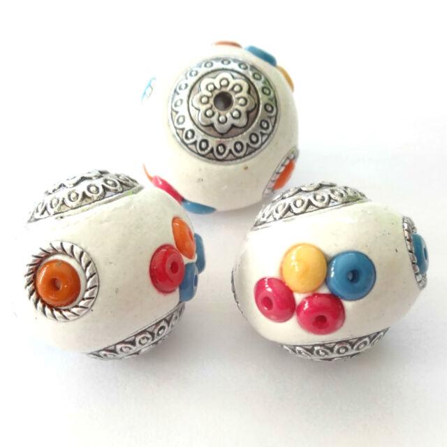 10 Indonesia Beads 20X22mm White Round Beads Jewellery Making