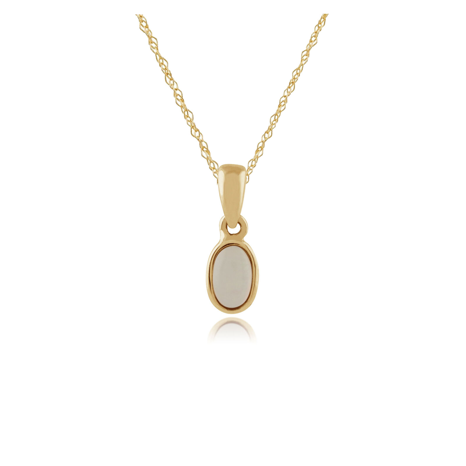 Gemondo 9ct Yellow gold Framed Oval 0.15ct Opal Pendant on Chain