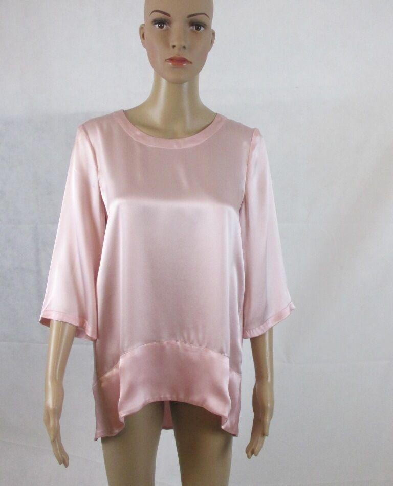 Seiden Shirt in der Sommerfarbe Rosa, Größe 44