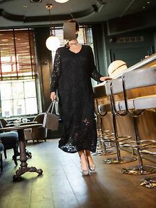 Marken Spitze Langes 54 Schwarz Gr Kleid Mit 1218509428 rdrw4qx7