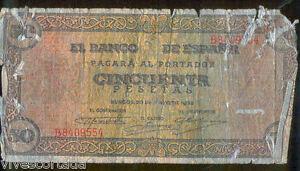 50 Pesetas 1938 Burgos Castillo Olite @ Utilisé @ BzHjCZsN-07134343-333811345