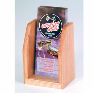 Details About Wooden Countertop Brochure Display Desktop Phamphet Leaflet Rack Menu Holder