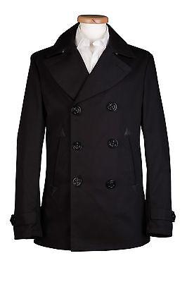 Military Cotton Pea Coat 36 38 40 42 44, Black Cotton Pea Coat