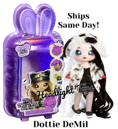 Series 3 Na Na Na Surprise Dottie DeMil Dalmatian 2 N 1 Fashion Doll Plush Purse