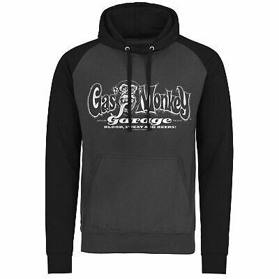 Officially Licensed Gas Monkey Garage White Logo Baseball Hoodie S-XXL Sizes