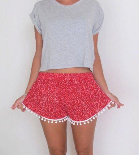 Women Ladies High Waist Casual Floral Beach Hot Pants Shorts Size 6-14