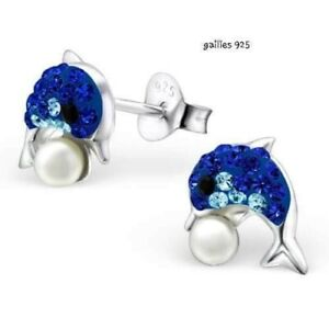 Children's Girls Sterling Silver Dolphin Crystal Stud Earrings With Plastic Ball