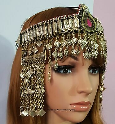 vintage tribal mathapatti hair accessories Afghani jewellry uchi ethnic afghan headpiece vintage tribal mathapatti  afghan mathapatti