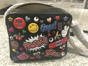 Prachtig Hindmarch Stickers Black Crossbody Wink All Over In Chic Circus Anya z1dwXqd