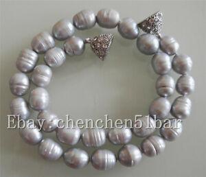 charme-10-11mm-grau-Reis-Barock-Suesswasser-Perlenkette-18-Zoll-Magnetverschluss