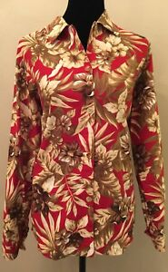 Oleg-By-Cassini-Womens-Blouse-Size-Medium-Red-Tropical-Floral-Long-Sleeve-Linen