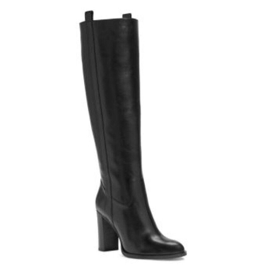 NEW MICHAEL MICHAEL KORS Regina Knee High Block Heel Leather Boots Black Sz 6