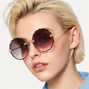 b233d7a3849c Image is loading Classic-Retro-Round-Rimless-Sunglasses-Womens-Oversized- Eyewear-