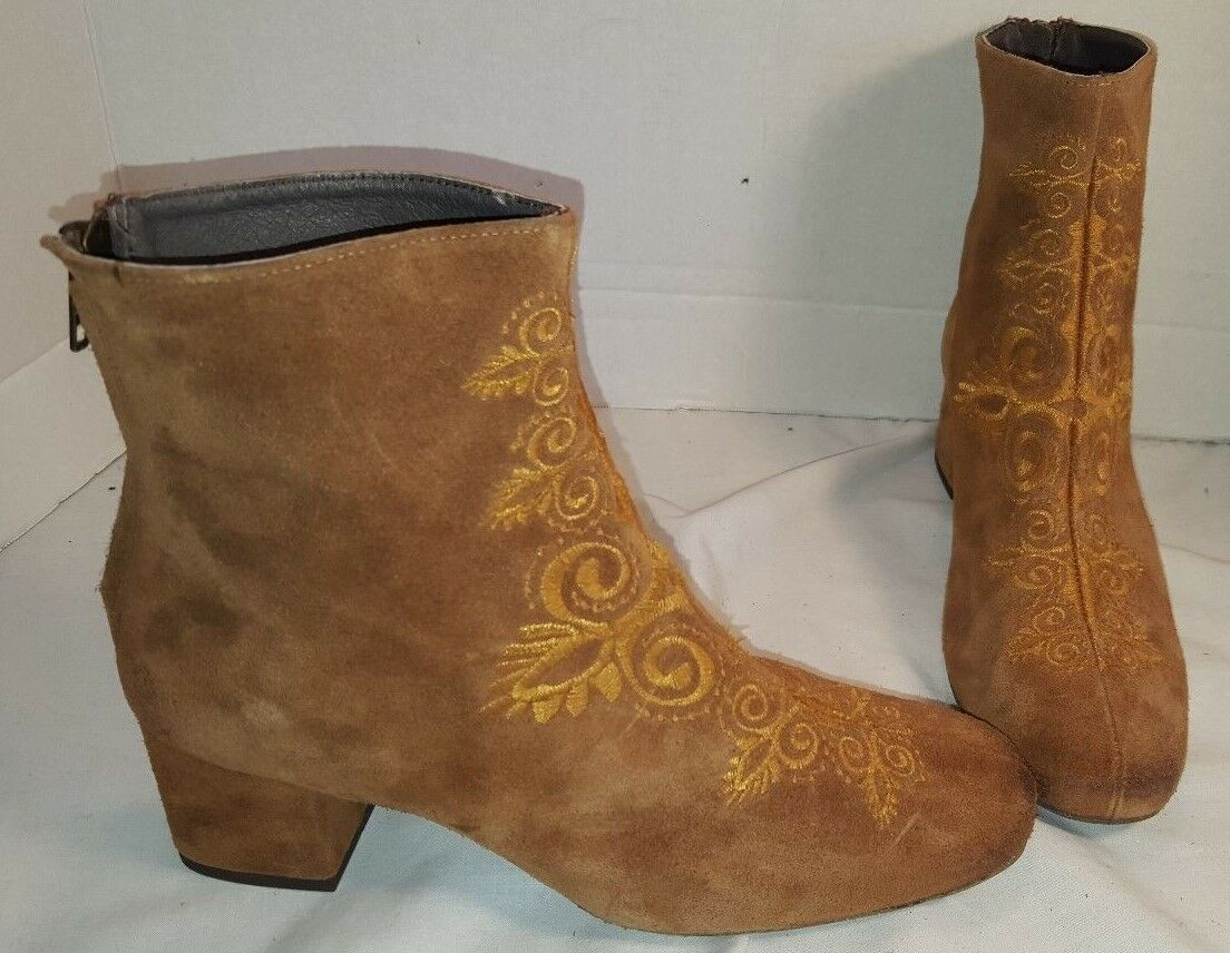 NEW FREE PEOPLE ESTELLA BROWN EMBROIDEROT 8 SUEDE HEELED ANKLE Stiefel 8 EMBROIDEROT EUR 38 cd5715