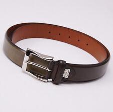New $295 SANTONI Olive Green Calfskin Leather Belt 42 W (105cm) Silver Buckle