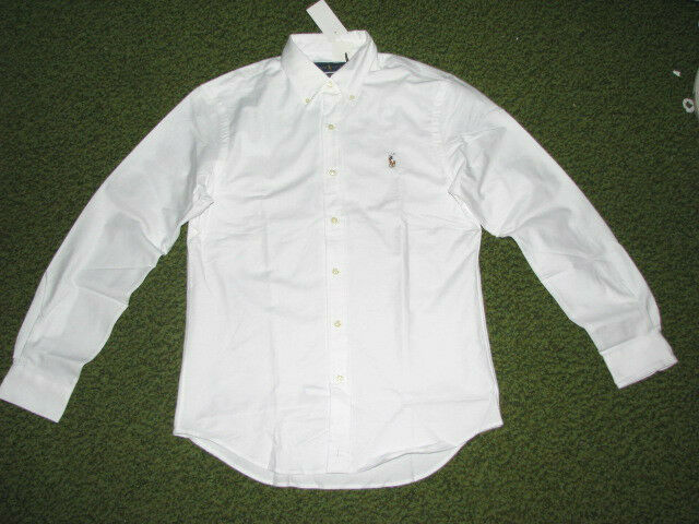 6962f97a1 Polo Ralph Lauren Mens Oxford Shirt Slim Fit Stretch Buttondown Long Sleeve  L White for sale online