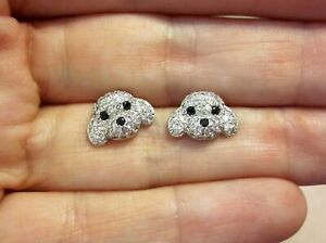 Betsey-Johnson-Dog-Earrings-Puppy-Silver-amp-Cubic-Zirconia