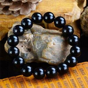 Obsidian-Crystal-Bracelet-Male-And-Female-Black-Buddha-Beads-Hand-String-BR