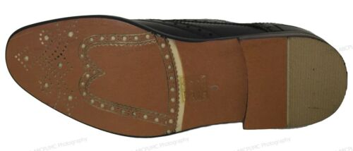 Mens Dress Shoes Wingtip Lace Up Leather Line Oxfords Brogue Casual Colors Sizes