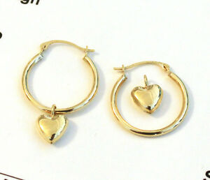 6991ba90c57c5 Details about 14k Yellow Gold Hoop Earrings with Heart Charm