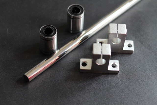 """10mm 15-1/2"""" Hardened Shaft with Bearings LM10UU & Supports Rod Linear Rail CNC"""
