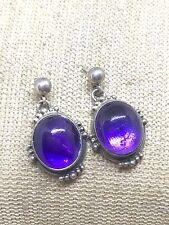 Sterling Silver Vintage Purple Jade Earrings Sa3-11