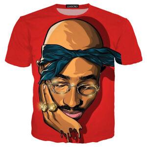 1b3f42427fd Women Men Cartoon Tupac 2pac Cupped Chin Print Casual 3D T-Shirt ...