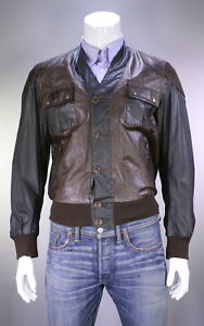 NWT-New-BELSTAFF-Gold-Label-Dark-Brown-039-Advent-039-Leather-Cardigan-Jacket-M