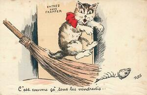 VINTAGE-FRANCE-FRENCH-CAT-POSTCARD-ILLUSTRATOR-ROS-ENTREZ-SANS-FRAPPER