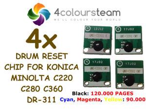4x-Tambor-Chip-De-Reinicio-Para-Konica-Minolta-Bizhub-C220-C280-C360-DR311-DR-311-120K
