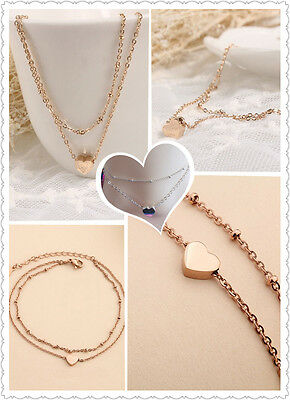 1pc Alloy Heart Ankle Bracelet Double Layer Chain Sexy Charm Foot Anklet