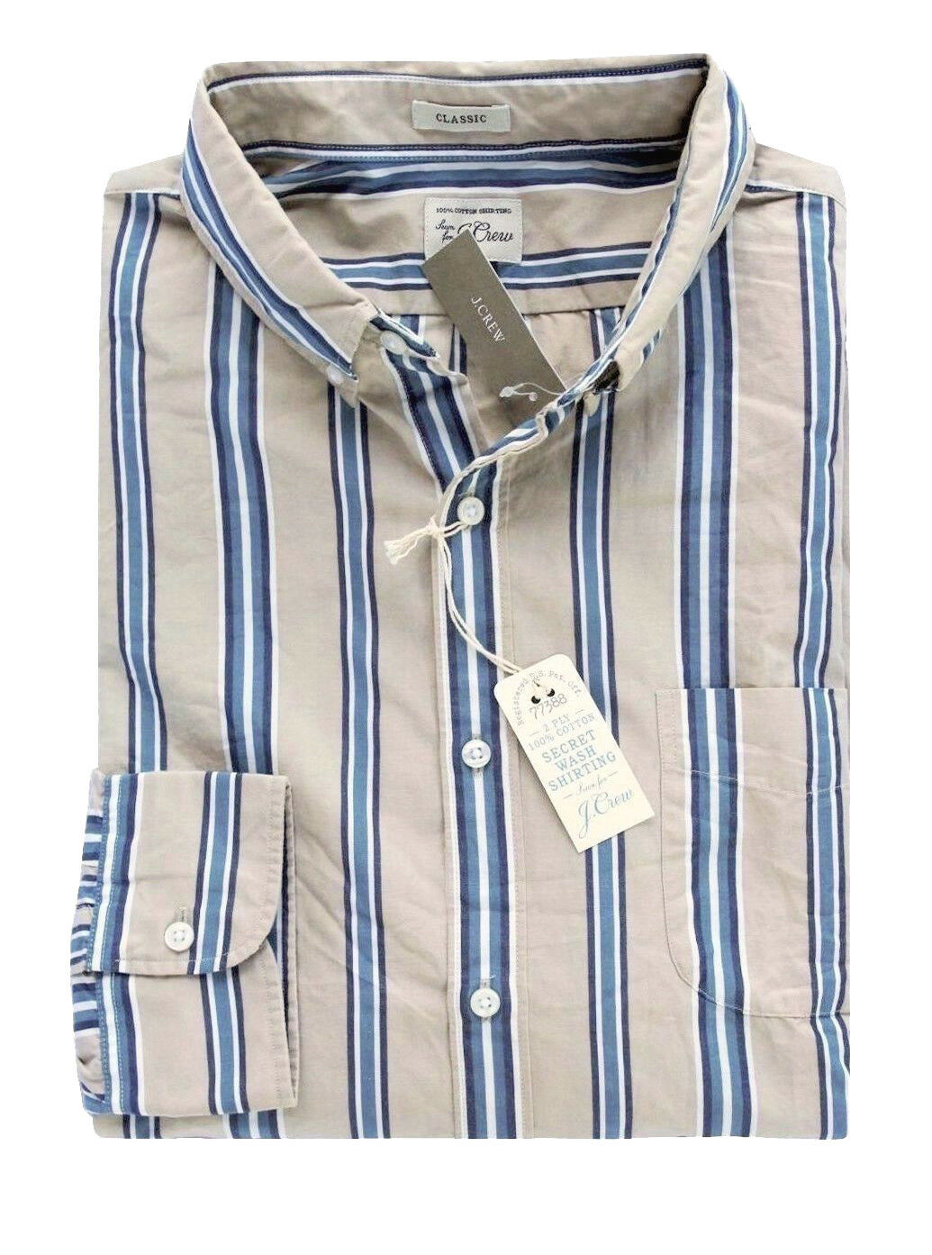 J.Crew - Men's XS - Classic Fit - NWT - Khaki bluee Striped Secret Wash Shirt