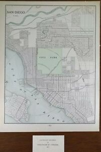 Vintage 1901 San Diego California Map 11 X14 Old Antique Long Beach