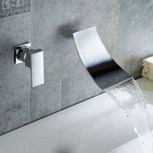 Rubinetto del bagno bacino chrome rubinetti parete cascata lavandino vasca mixer tap ebay for Rubinetti a parete bagno
