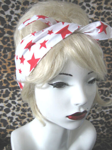 ROCKABILLY WHITE RED STARS HAIR HEAD WRAP SCARF  50/'S PIN UP